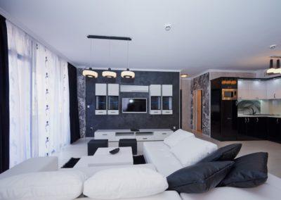 Interior in black and white