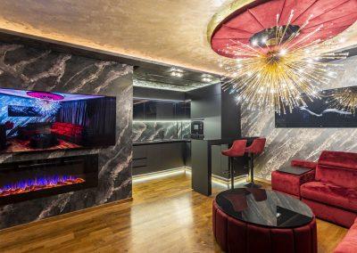 Цялостен дизайн и изпълнение, декоративни мазилки в черно и бордо